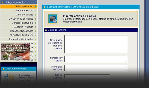 Formulario de solicitud de inserción de oferta de emplo El Molar.
